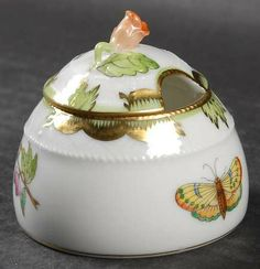 Honey Pot & Lid in the Queen Victoria (green Border) pattern by Herend
