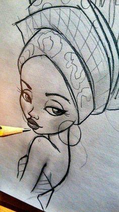 Pencil Drawing of a beautiful traditional African women. African American Art, African Art, African Women, Coloring Books, Coloring Pages, African Paintings, Art Africain, Arte Disney, Afro Art