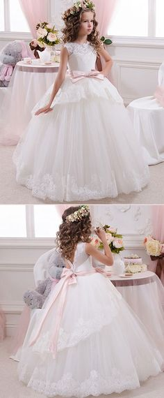 DressilyMe Bridal Dresses Online,Wedding Dresses Ball Gown, attractive tulle satin jewel neckline ball gown flower girl dresses with lace appliques Girls First Communion Dresses, Holy Communion Dresses, Tea Party Outfits, Girls Party Dress, Ball Gown Dresses, Flower Dresses, Little Girl Dresses, Girls Dresses, Bridesmaids And Mother Of The Bride