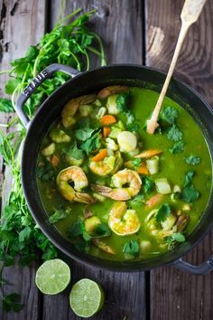 A FAST delicious recipe for Peruvian Seafood Stew with flavorful  Cilantro Broth ... with potatoes and carrots. Healthy, Gluten free, Easy... and can be made in 35 minutes! | www.feastingathome.com