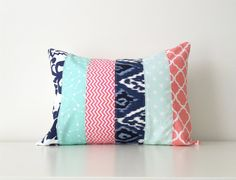 Lumbar Pillow Cover Aqua Navy Coral Pink by BlackcatmeowDesigns