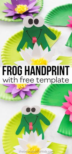 Handprint Frog Craft - fun summer kids craft! Get a free water lily template. An easy and fun kids activity for summer! #bestideasforkids #kidscraft #kidsactivities #kidfun #summer #summercraft