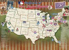 mlb major league baseball parks stadiums wall art hand made stadium map pinterest baseball park and major league