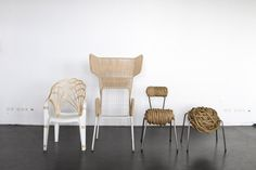 Thrown away chairs upcycled with natural material by local craftsmen. By Laura Jungmann
