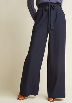 ModCloth - ModCloth High-Waisted Wide-Leg Trousers in Navy - AdoreWe.com