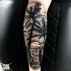 Tatoo Palme tattoo for men on leg Tropisches Tattoo, Tree Sleeve Tattoo, Forarm Tattoos, Forearm Sleeve Tattoos, Tattoo Sleeve Designs, Tattoo Designs Men, Leg Tattoos, Body Art Tattoos, Tattoos For Guys