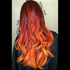 ... Flames Red, Wigs, Hair Color. This girl is on fire by Guy Tang: Phoenix Firebird, Fire Ombre, Guy