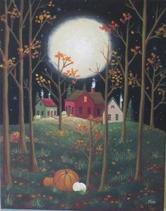 November Moon ORIGINAL Folk Art Painting FREE by KimsCottageArt