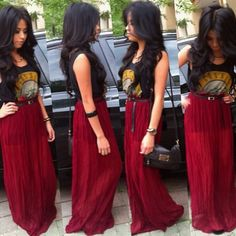 a t-shirt with the sheer maxi skirt I have would be cute!!!!