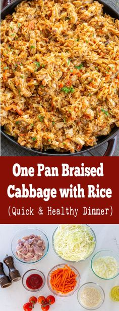 Braised cabbage with rice is a filling dish that is made all in one pan. It makes for a perfectly healthy lunch or dinner and it reheats amazingly. Easy One Pot Meals, Easy Weeknight Meals, Quick Meals, Side Dish Recipes, Veggie Recipes, Healthy Recipes, Simple Recipes, Amazing Recipes, Lazy Cabbage Rolls