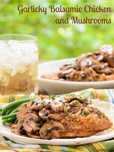 Garlicky Balsamic Chicken and Mushrooms | Magnolia Days Turkey Recipes, New Recipes, Chicken Recipes, Dinner Recipes, Cooking Recipes, Favorite Recipes, Healthy Recipes, Diabetic Recipes, Cooking Time