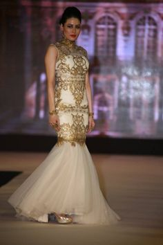 White And Gold Indian Wedding Dresses Tulle white and gold gown