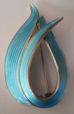 Norwegian Silver Blue Enamel Brooch - Albert Scharning Norway