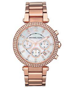 54b34a6fb523 Michael Kors Women s Chronograph Parker Rose Gold-Tone Stainless Steel  Bracelet Watch 39mm MK5491 -
