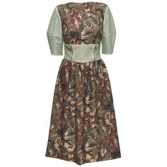 Floral Midi Dress with Perforated Faux Leather