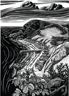 """Bryan Angus (Scottish Artist) Lino Prints: """"Crovie Autumn"""".  bryanangusart.com"""