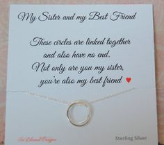 Sister Necklace Christmas Gift Wedding For Birthday SISTERS Poem