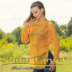 Made to Order by SuperTanya----------  ***********************************************************************************  SUMMER HAND KNITTED COTTON SWEATER by SuperTanya  ******************************************************* Product Description:  This brand new SuperTanya's hand knitted cotton creation is handmade from premium class soft and luxurious cotton yarn. The cotton, together with cashmere, alpaca and angora is one of the world's most loved materials for making one of a kind…