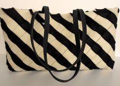 Black Felt Tote Bag ,  White Wool Felt Tote ,  Wool Felt Black Bag,   Black and White felt tote,  RWOODB ,Tote by rwoodb. Explore more products on http://rwoodb.etsy.com