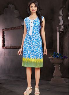 Cotton  Blue Abstract Print Fancy Printed Kurti