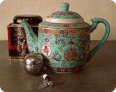 My traditional Chinese teapot, tea and the tea infuser I beaded