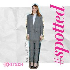 Kitsch #Spotted: Emma Stone pulling off a stunning and sophisticated look in a Saint Laurent Suit and Top.