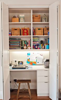 Small Apartment Design Idea - Create A Home Office In A Closet   This closet acts as the family command center, keeping the phone, printer, books, computer, and other essentials in one convenient place that can be completely hidden in a matter of seconds.