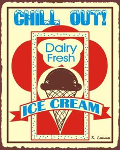 Red on strong cream - Chill Out Ice Cream Vintage Metal Ice Cream Shop Sign Ice Cream Font, Ice Cream Parlor, Vintage Labels, Vintage Signs, Vintage Images, Old Fashioned Ice Cream, Purple Cow, Custom Metal Signs, Cucina