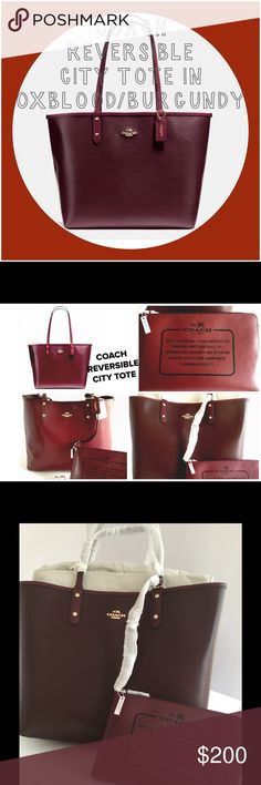 """COACH REVERSIBLE CITY TOTE IN OXBLOOD/BURGUNDY COACH REVERSIBLE CITY TOTE IN OXBLOOD/BURGUNDY. NWT Coach tote in rich oxblood and reversible burgundy. Excellent for fallor winter❄️ Also comes with a good sized detachable wristlet(about 9 1/2"""" X 6) that you can snap off if needed.!! This is a good sturdy tote made of thick coated canvas. The GOLD COACH LOGO is on both sides. One side is a little shinier, while the other side is a more matted color. A great transition choice depending on your…"""