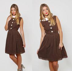 Vintage 50s POLKA DOT Dress Mocha Brown SWING Dress Fit and Flare Rockabilly Dress by LotusvintageNY
