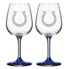 I want these! Indianapolis Colts Wine Glasses...will have these for our toast at the reception!