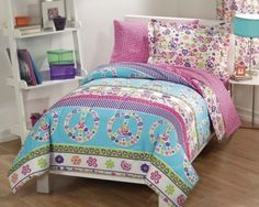 Girls-Comforter-Set-Twin-Size-Peace-Love-Signs-Bedding-Teens-Retro-Sheets-Kids