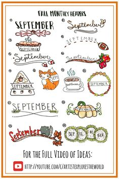 Fall themed #bulletjournal headers and ideas for September. Bullet Journal Ideas, bullet journal inspiration.
