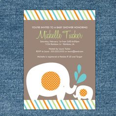 elephant invites with blue and orange