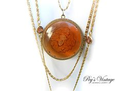 Rare GOLDETTE Three Strand Amber INTAGLIO by PegsVintageJewellery