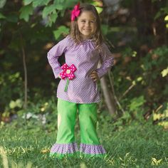 Lolly Wolly Doodle Purple Dot Lime Corduroy Ruffle Pant Set 8/28