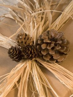 Homemade gift wrapping is a way to have a distinctive presentation with holiday gifts. Use unexpected materials like pine cones and raffia to decorate gifts for a unique touch.