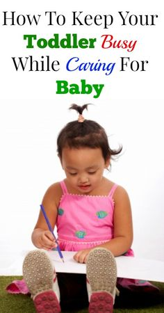 See my tips for keeping your toddler busy while you tend to the baby. {Parenting Tips, Positive Parenting, Attachment Parenting}