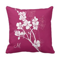 Monogram White Spring Blossoms on Acai Pink Throw Pillow