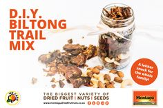 Montagus DIY biltong and nut trail mix is the perfect snack for sports. A healthy snack ideal for the rugby. Diy Crafts For Home Decor, Diy Craft Projects, Biltong, Keto Cheese, Appetizer Recipes, Appetizers, Diy For Teens, Diy Tutorial, Healthy Snacks
