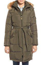 Ellen Tracy Belted Down Coat with Detachable Faux Fur Trim Hood (Regular & Petite)