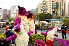 Floral Penguin Sculpture