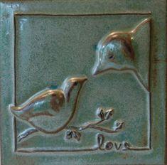 ceramics, pottery, hand sculpted stoneware bird tile, kristirowland.com
