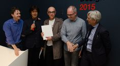 """Cristalplant Design Contest 2015"""" award ceremony. Vittorio Pavarin (Head of Cristalplant® Sales and Marketing Dept.), Andrea Lupi (Antoniolupi's CEO and art director), Roberto Cicchinè and Marino Breccia  (Special Mention), Antonio Iraci - Architect"""