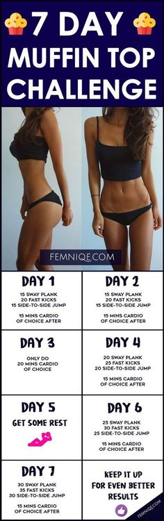 7 Day Ab Challenge (Muffin Top Shredder Workout) - If you want to get rid of muffin top this 7 day ab challenge will do wonders for your waist. If you don't want to do a 30 day muffin top challenge you can do this instead :)