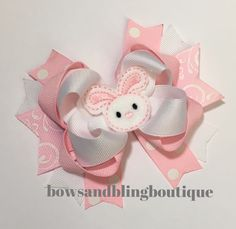 Easter Bunny Hair Bow Boutique Pink Bow