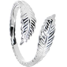 925 Sterling Silver Feather Toe Ring #bodycandy #toering #feather $15.99