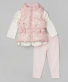 Look at this Pink Star Bow Puffer Vest Set - Toddler & Girls on #zulily today!