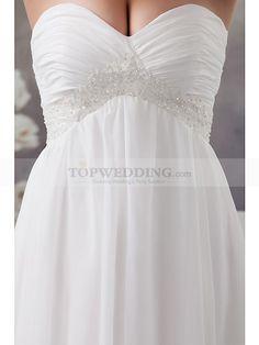 Nevia - imperio strapless vestido de novia de gasa con cuentas