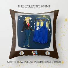 home decor. gifts for whovians. just plain hip.  The perfect addition to any household that loves Doctor Who Collectibles! This throw pillow case features one of our Bad Wolf piences, a stylish statement that will liven up any room!  ♥ About the pillow case:  Case measures about 17 x 17...